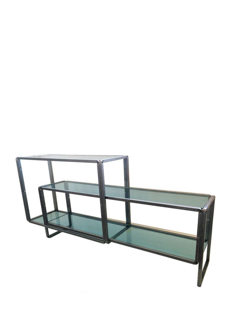 Tavolo espositore composto da due moduli con piani in vetro cm. 45x190x95h