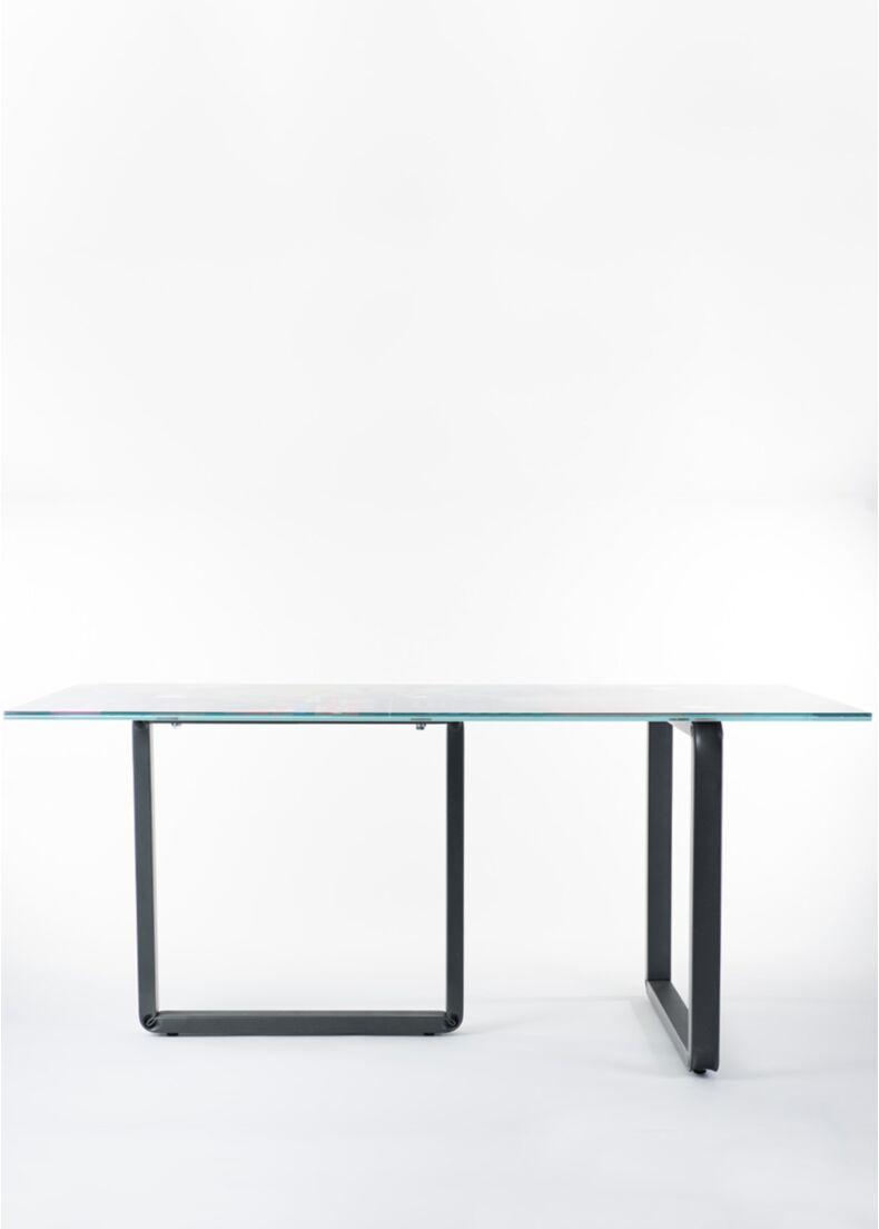 Tavolo di design con struttura in acciaio e piano in vetro serigrafato da negozio cm. 175x85x95h