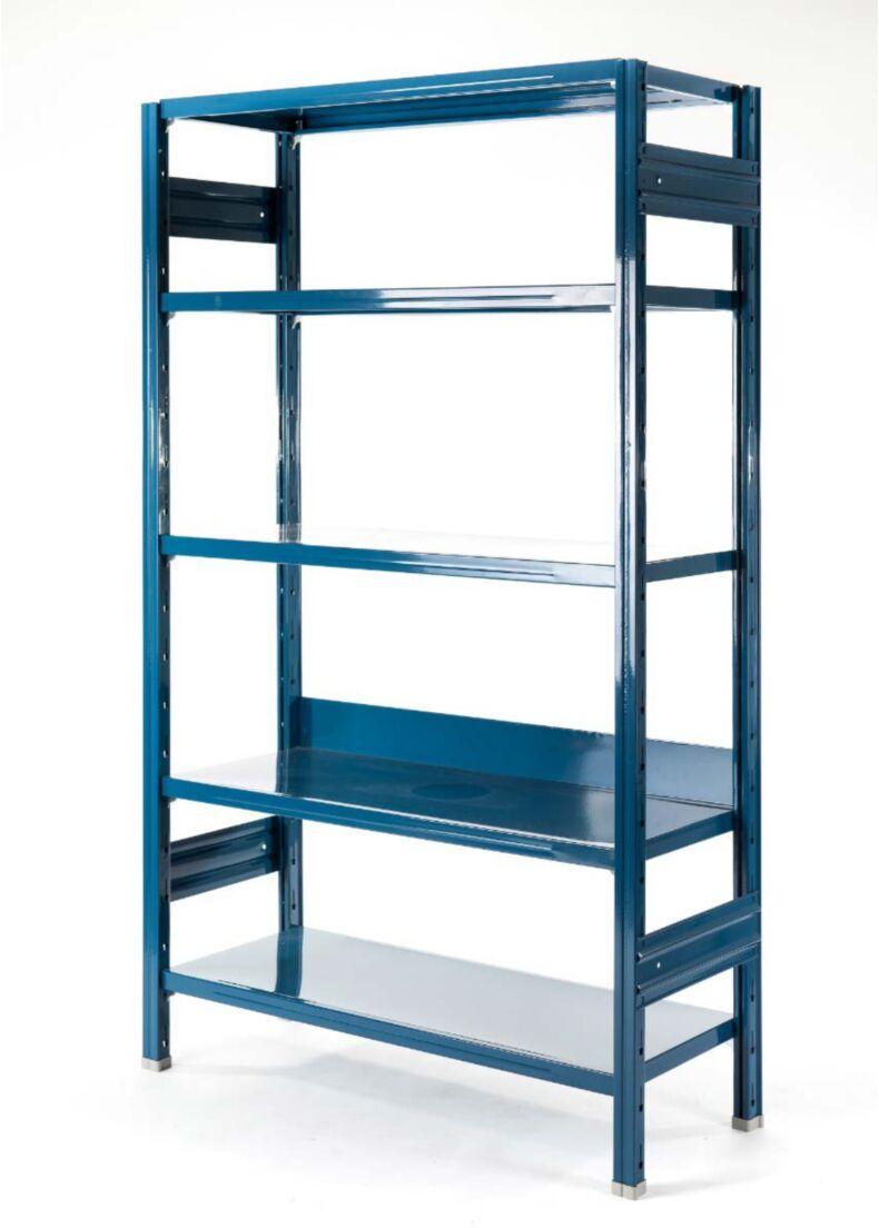 libreria in metallo design blu per uffici e showroom