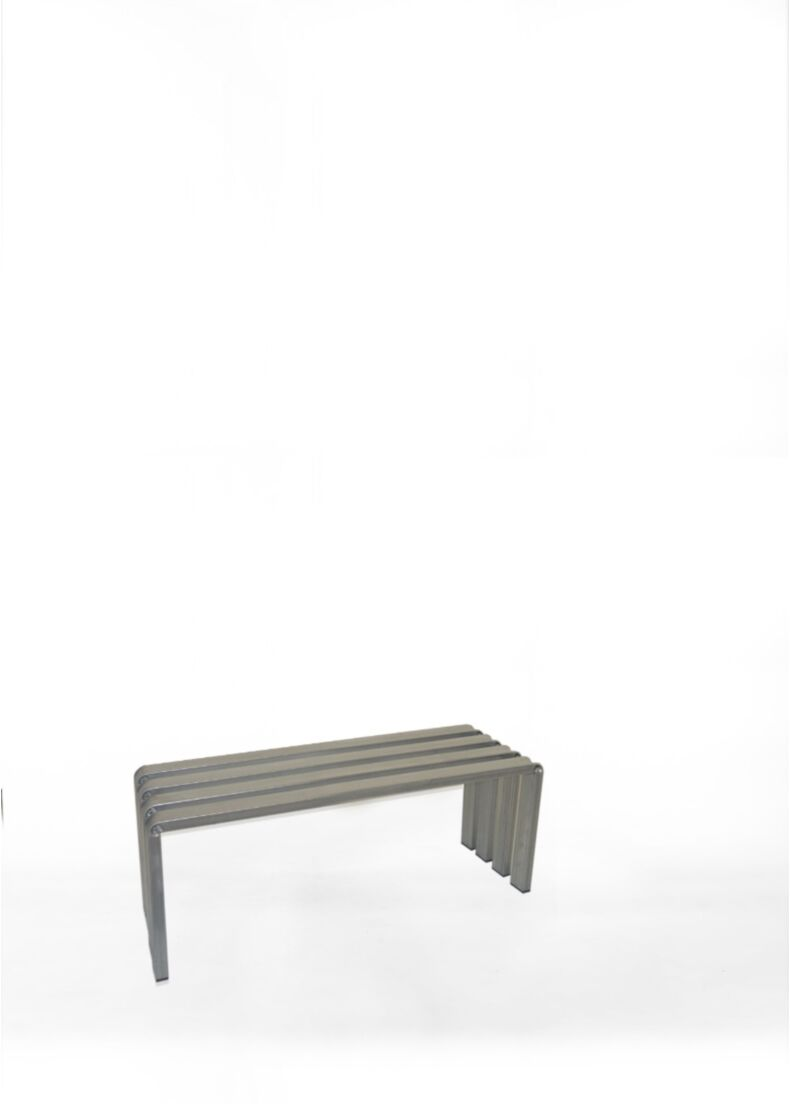 runway design bench in galvanized metal