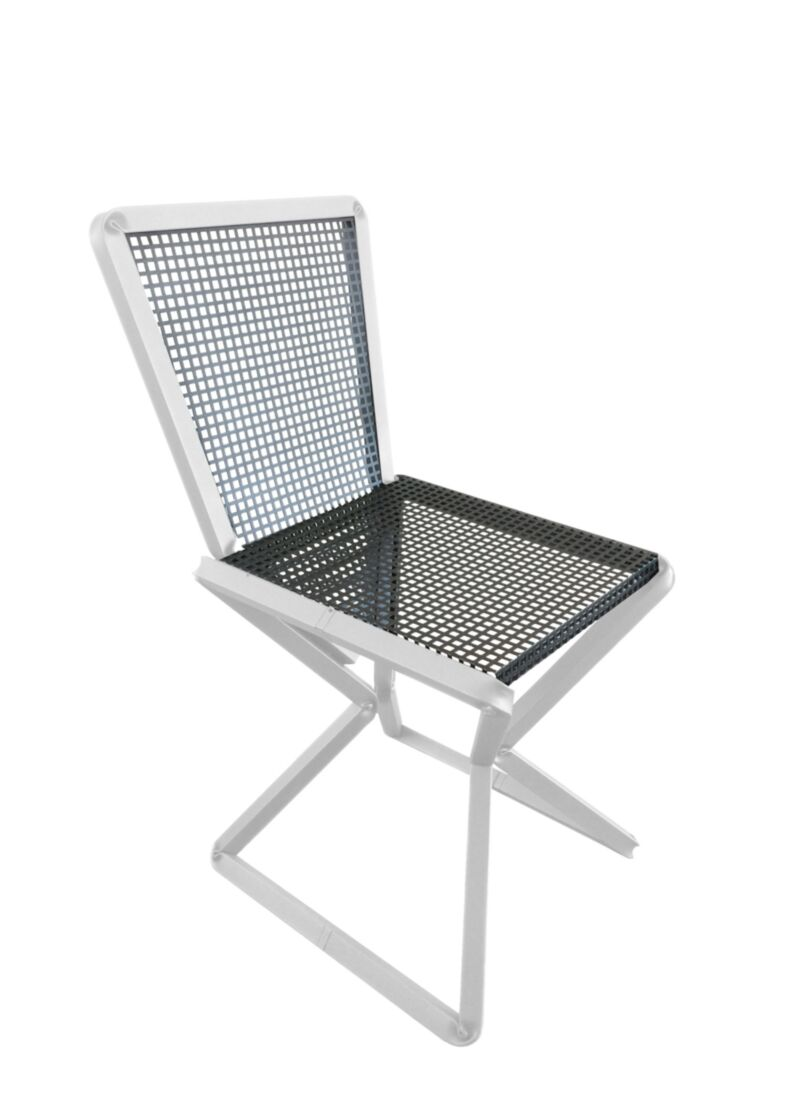 design chair with particular structure and C folding  in black and white metal