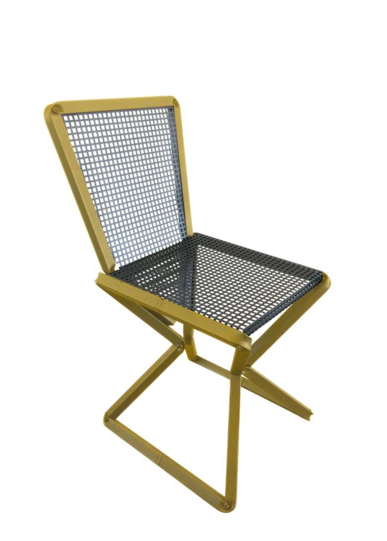 Sedia in acciaio giallo e grigio ghisa cm. 45x45x85h